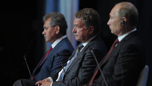 Владимир Путин, Саули Ниинисте, Сергшей Шойгу на Международном арктическом форуме в Салехарде