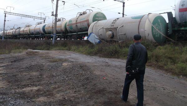 Сход с рельсов цистерн с пропаном в городе Буе Костромской области