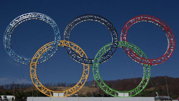 Олимпийские кольца у здания сочинского аэропорта. Архивное фото.