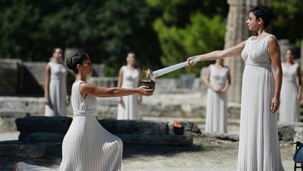 Репетиция церемонии зажжения Олимпийского огня