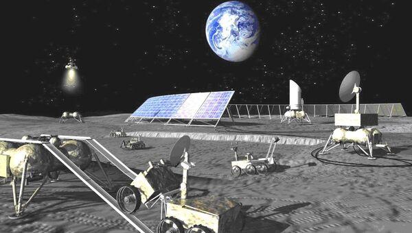 Будущая российская лунная база глазами художника, архивное фото