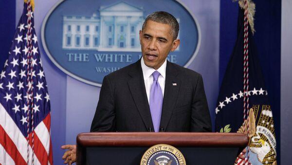 Президент США Барак Обама выступает перед представителями СМИ, архивное фото