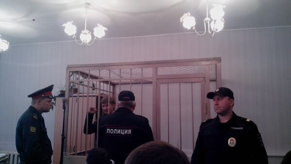Николай Бондарик во время судебного заседания Выборгского районного суда Петербурга. Фото с места события