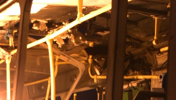 Последствия взрыва пассажирского автобуса в Волгограде