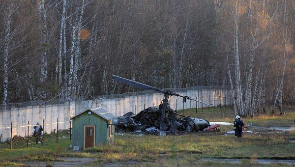 Вертолет Ка-52 упал в районе Выхино-Жулебино на юго-востоке Москвы. Фото с места события