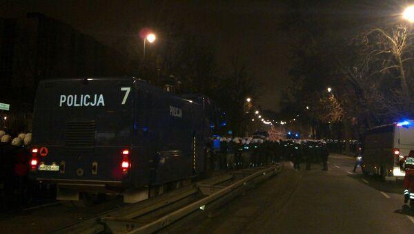 Беспорядки рядом с российским посольством в Варшаве. Фото с места события