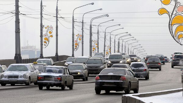 Коммунальный мост в Красноярске ранней зимой