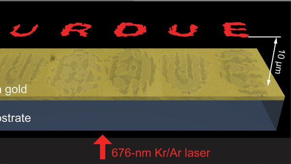 Микроскопическая голограмма, изготовленная авторами статьи из университета Пардью, архивное фото