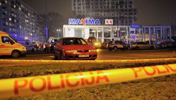 Торговый центр Maxima на улице Приедайнес в Риге, в котором произошло обрушение крыши