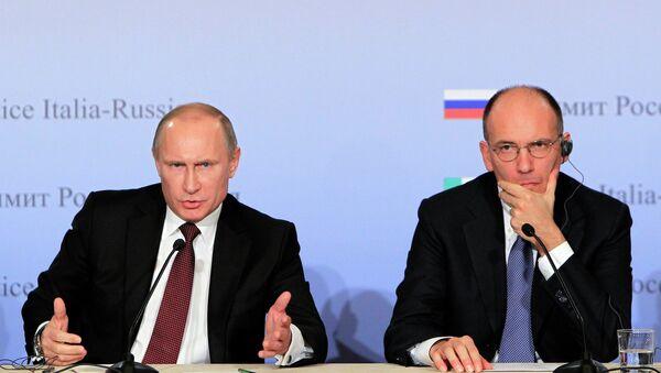 Президент России Владимир Путин с председателем Совета министров Италии Энрико Леттой в Триесте. Архивное фото
