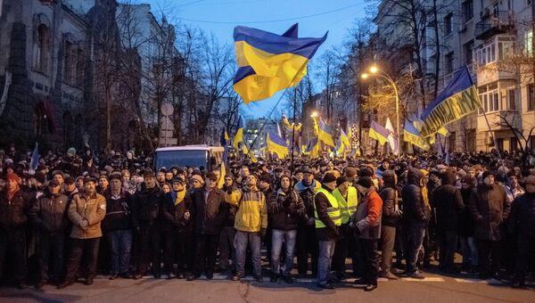 Митингующие блокировали подходы к администрации президента Украины. Архивное фото