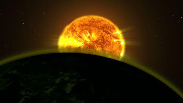 Восход светила над горизонтом экзопланеты