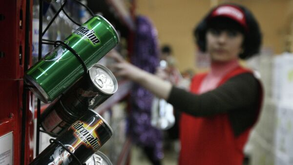 Энергетические напитки в магазине