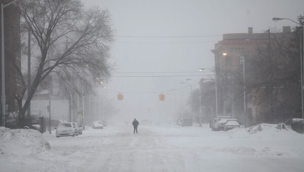 Снежный шторм в Детройте