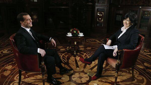Интервью Д.Медведева телекомпании CNN. Фото с места событий