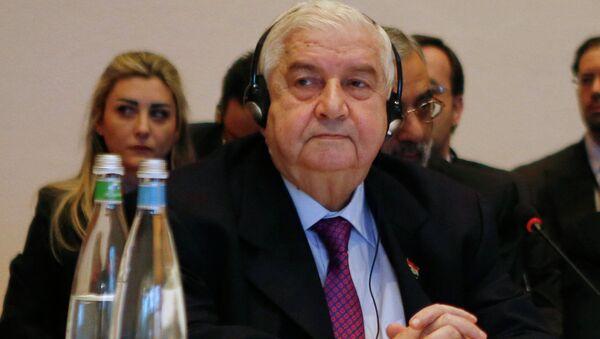 Глава МИД Сирии Валид Муаллем на конференции Женева-2 в Монтре