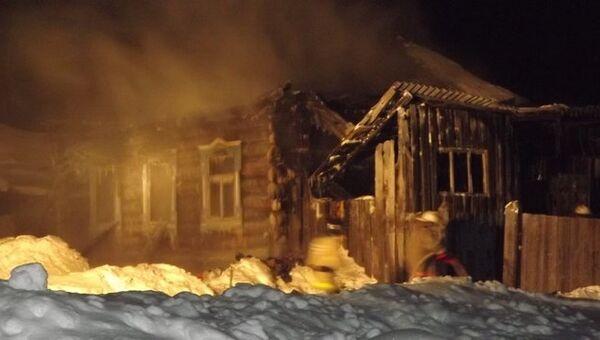 Пожар в Удмуртии, деревня Васькино, фото с места события