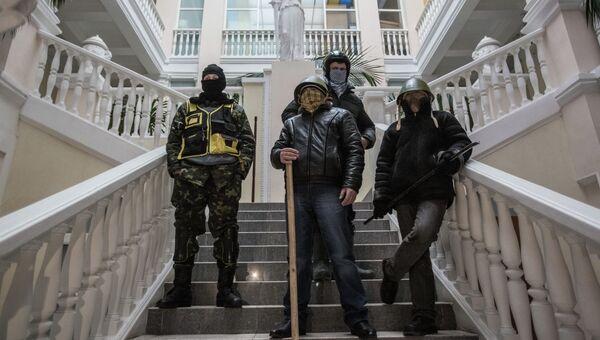 Протестующие в захваченном здании Министерства юстиции Украины. Архивное фото