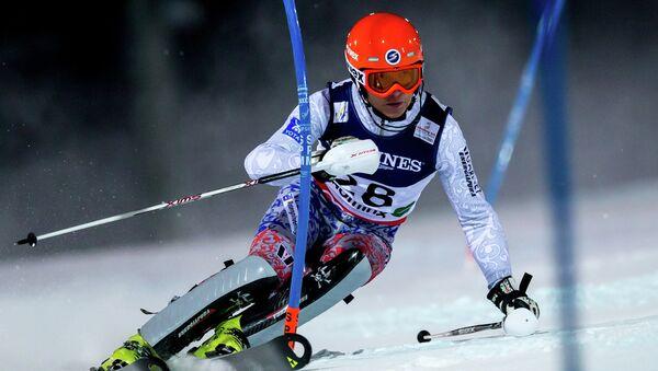 Российский горнолыжник Александр Хорошилов на дистанции. Архивное фото