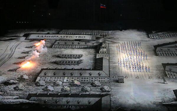 Сцены театрализованного представления Церемонии открытия Игр построены по мотивам истории и культуры России: петровские времена...
