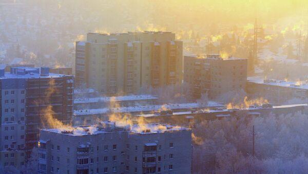Морозное утро в Новосибирске, архивное фото