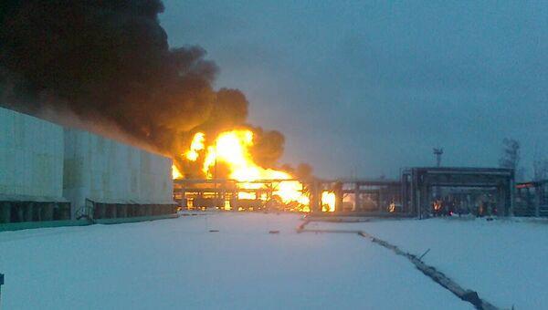 Пожар на территории нефтеперерабатывающего завода в Рязани. Фото с места события