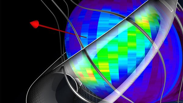 Модель межзвездного магнитного поля за пределами Солнечной системы по данным IBEX. Красной стрелкой показано направление движения Солнечной системы в Галактике