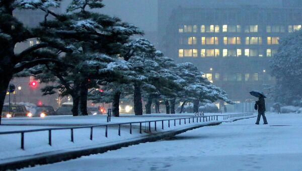 Сильный снегопад в Токио. Фото с места события