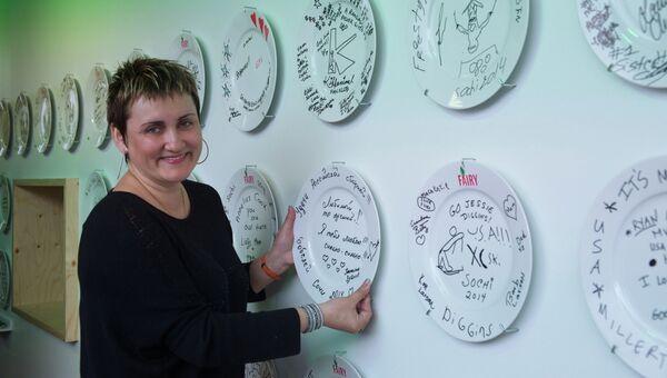 Супруга бобслеиста Александра Зубкова Татьяна в Семейном Доме Procter&Gamble в Сочи