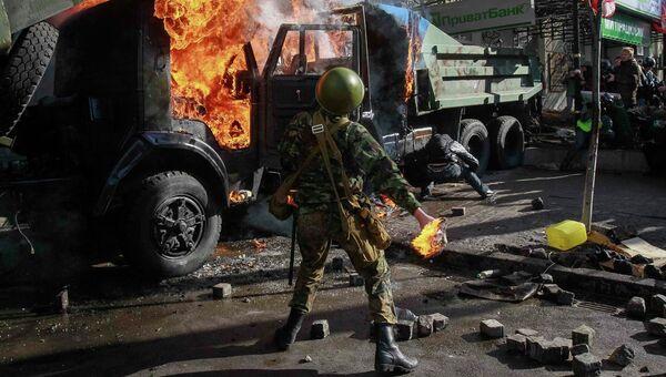 Столкновения в центре Киева. Фото с места события