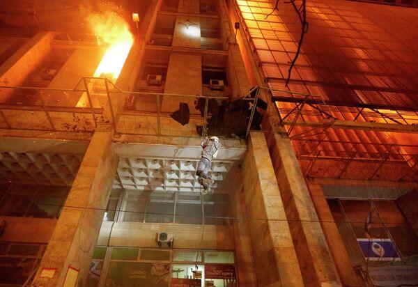Пожар в Доме профсоюзов в Киеве, фото с места события