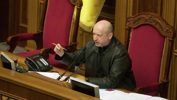 Новый спикер Верховной Рады Украины Александр Турчинов во время сессии украинского парламента в Киеве 22 февраля 2014