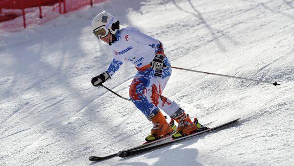 Александра Францева (Россия) на трассе гигантского слалома на XI Паралимпийских зимних играх в Сочи