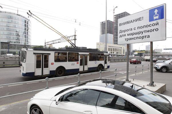 Полосы общественного транспорта в Москве, транспорт, Москва