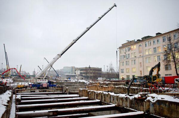 На строительной площадке Алабяно-Балтийского тоннеля
