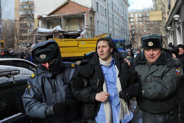 Акция у сносимого здания в Б. Козихинском переулке в Москве