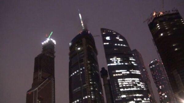 Вертолеты потушили пожар на башне Восток в Москва-Сити