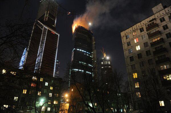 Пожар в строящейся башне центра Москва-Сити