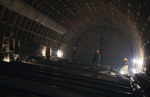 Строительство станции Московского метро