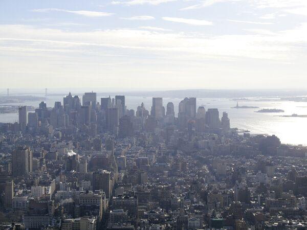 Вид на деловой квартал Нью-Йорка