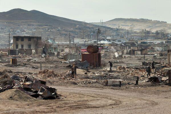 Ликвидация последствий пожара в поселке Шира Республики Хакасия