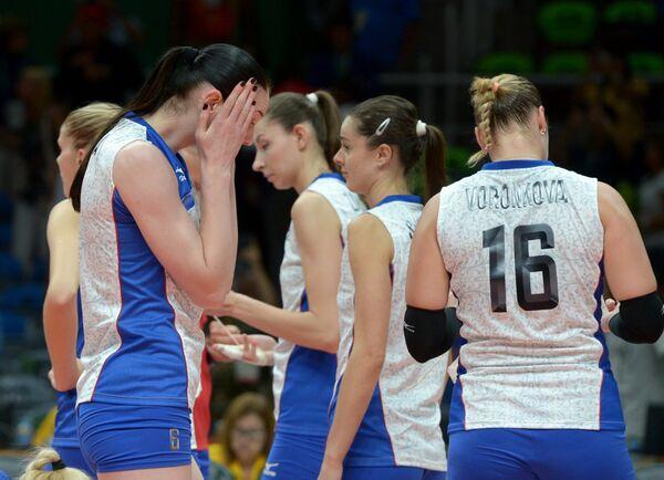 Волейболисты сборной России Дарья Малыгина (слева) и Ирина Воронкова (справа)