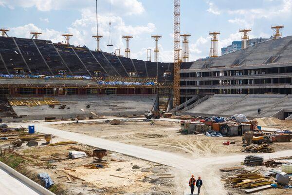 Строительство стадиона Волгоград Арена к чемпионату мира по футболу 2018 года в Волгограде