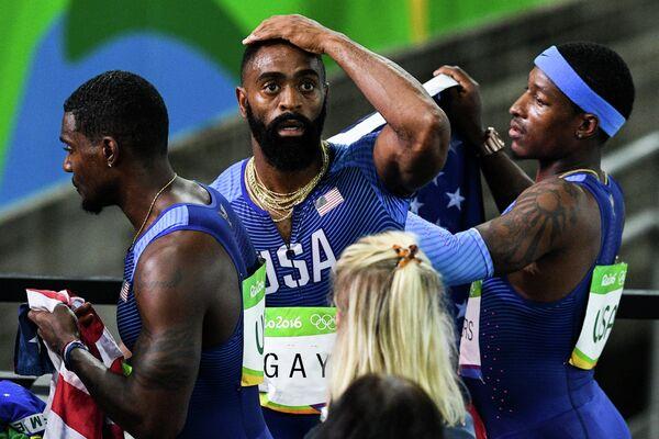 Тайсон Гэй (США) после финиша в финальном забеге эстафеты 4х100 м