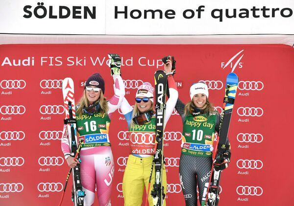 Микаэла Шиффрин (США), Лара Гут (Швейцария) и Марта Бассино (Италия) (слева направо)
