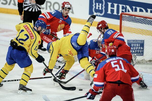 Игровой момент матча первого этапа Еврохоккейтура 2016/17 Кубок Карьяла Швеция - Россия