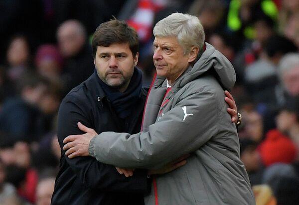 Главный тренер Тоттенхэма Маурисио Почеттино и главный тренер Арсенала Арсен Венгер (слева направо)