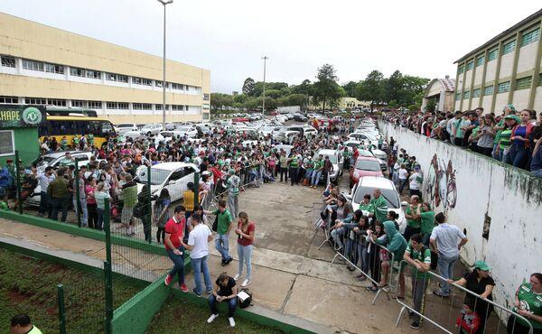 Болельщики бразильского футбольного клуба Шапекоэнсе