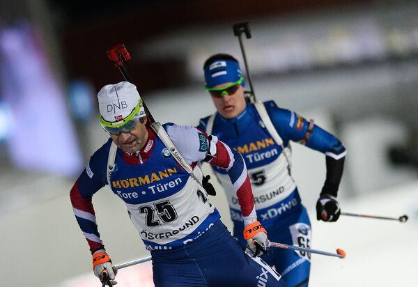 Слева: Уле-Эйнар Бьерндален (Норвегия)
