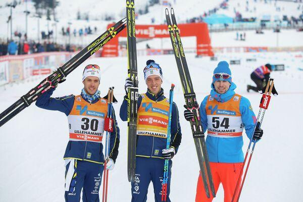 Маркус Хельнер, Калле Хальварссон и Сергей Устюгов (слева направо)